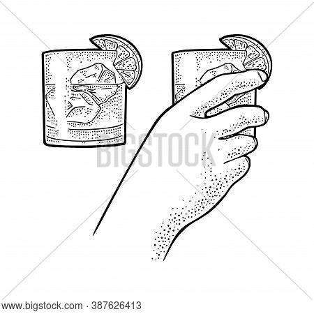 Female Hand Holding Glass Cocktail Gin With Lime And Ice Cube. Vintage Vector Engraving Illustration