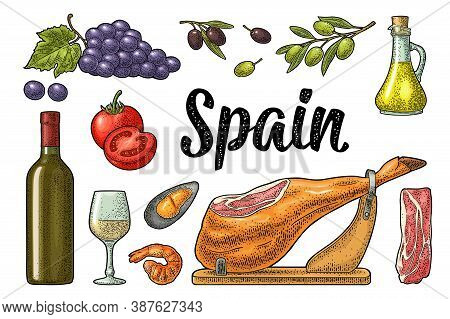 Spain Traditional Food Set With Jamon On Wood, Wine Bottle And Glass, Bunch Of Grapes With Berry And