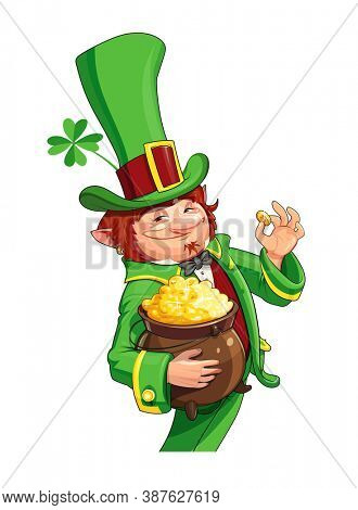 Gnome leprechaun. Fairy-tale character for Saint Patrick's Day. Rich dwarf man with pot of gold coins. Shamrock symbol success and luck, isolated white background. 3D illustration.