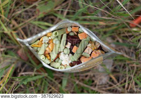 A Set Of Freeze-dried Food In A Bag. Tourist Freeze-dried Food.