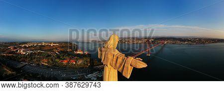 Aerial Panoramic View Of Sanctuary Of Christ The King, Santuario De Cristo Rei With 25 De Abril Brid