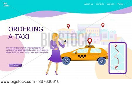 Illustration For Online Ordering A Taxi Car, Rent And Sharing Using Service Mobile Application. Woma