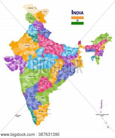 India High Detailed Vector Map Showing States And Districts Boundaries With States' Names And Capita