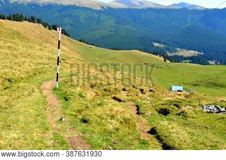 Strunga In Masif Bucegi, Carpathian Mountains.typical Landscape In The Forests Of Transylvania, Roma