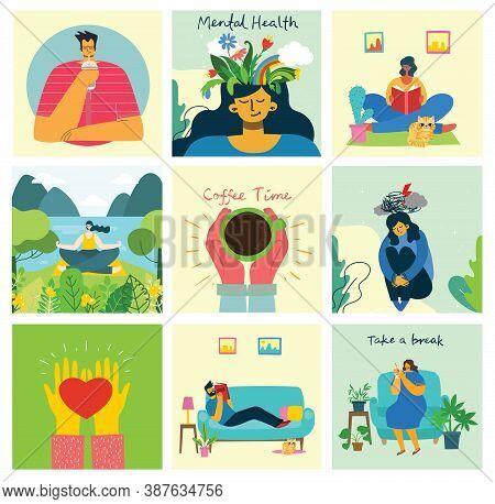Mental Health Illustration Concept. Psychology Visual Interpretation Of Mental Health.