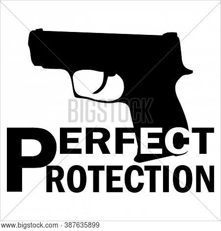 Pistol Fort Gun Silhouette Logo Icon Vector Illustration