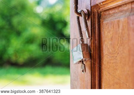 Key And The Door To Hope And Success In The Future With Bokeh Nature Blurred Background