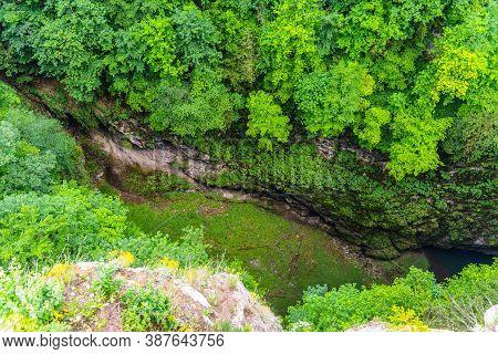 Macocha Abyss - Large Limestone Gorge In Moravian Karst, Czech: Moravsky Kras, Czech Republic. View