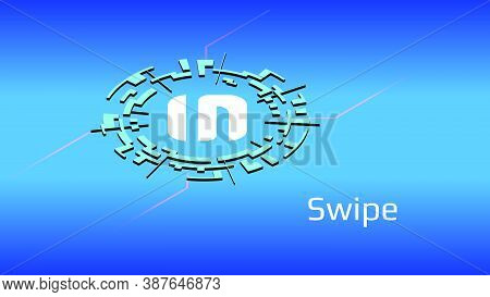 Swipe Sxp Isometric Token Symbol Of The Defi Project In Digital Circle On Blue Background. Cryptocur
