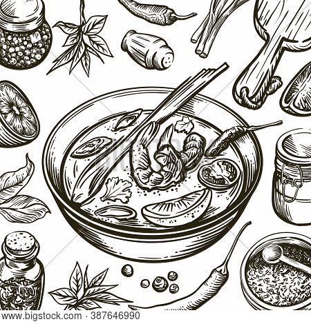 Dish With Soup Tom Yam And Ingredients For Its Preparation. Set Of Vector Sketches On White Backgrou