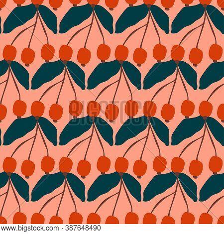 Autumn Seamless Coordinate Print. Fall Rowanberries And Leaves Naive Cartoon Flat Vector Illustratio