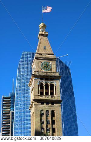 September 29, 2020 In Denver, Co:  Historical Clock Tower Building Built In 1911 Taken In Denver, Co