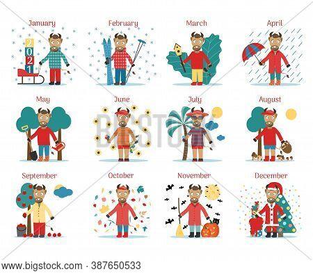 Calendar For The Year Of The Bull 2021. Twelve Little Cute Bulls Will Decorate. Cartoon Little Bull
