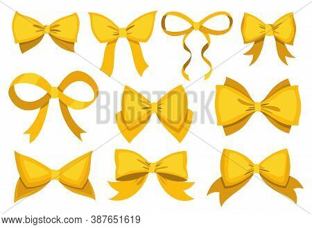 Gold Bow Set. Cartoon Vector Yellow Luxury Design Elements Of Wrap Pack. Satin Bows With Ribbons Iso