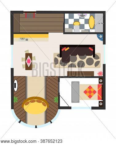 Interior Plan. Detailed Apartment Furniture Overhead Top View. Apartment Room Plan. Architectural Co
