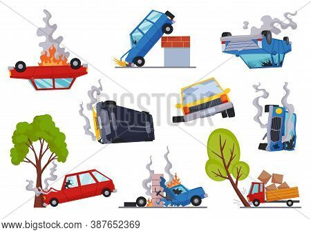 Accidents On Road Cars Damaged. Road Accident Icons Set With Car Crash Symbols Flat Isolated. Damage