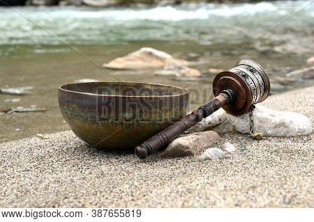 A Tibetan Singing Bowl. Translation Of Mantras. Transform Your Impure Body, Speech And Mind