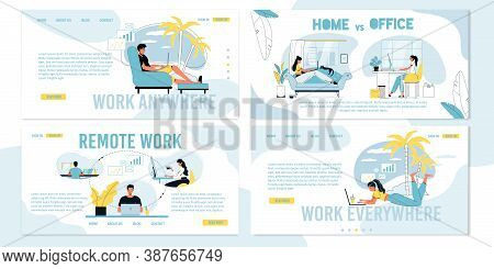 Remote Work On Freelance, Distant Coworking Vs Office Job Occupation Daily Routine. Company Team Onl