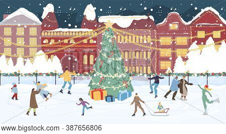 Happy People Crowd On Ice Rink. Decorated Chrismtas Main Square With Gift Box Under Fir Tree, House