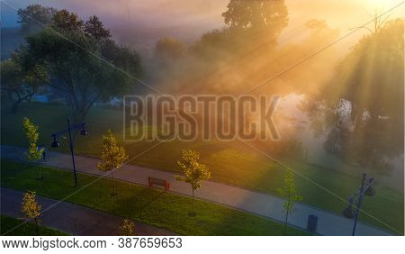 Dawn In The Park. Fresh Morning In The Recreational Area Of Bucha