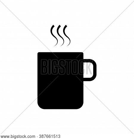 Black Coffee Mug. Ceramic Cup Of Tea. Opaque Mug Layout. Vector Illustration.