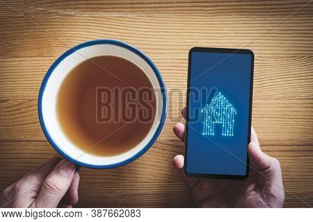 Smart Home, Intelligent House, And Home Automation App Security Concept. Smart House Icon With Pcb D