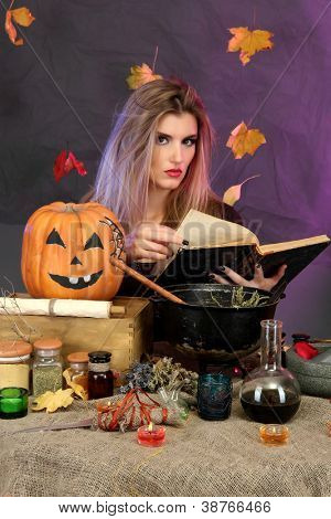 Halloween witch preparing poison soup in her cauldron on color background poster