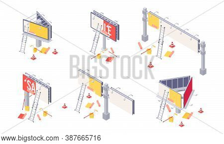 Billboard Installation Isometric Vector Illustration - Process Of Sticking Advertising On Big City O