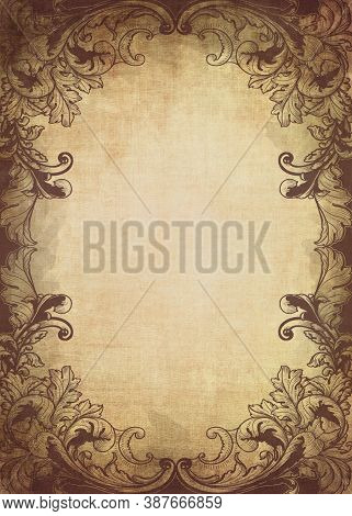 Hand-drawn Background Or Frame For A Diploma Or Certificate In A Vintage Style. Illustration With A