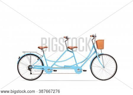 Studio shot of a blue tandem twin bicycle isolated on white background