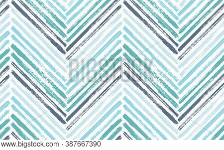 Irregular Zigzag Fashion Print Vector Seamless Pattern. Paintbrush Strokes Geometric Stripes. Hand D