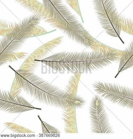 Floral Feather Plumage Vector Seamless Pattern. Decorative Wrapping Paper. Airy Natural Feather Plum
