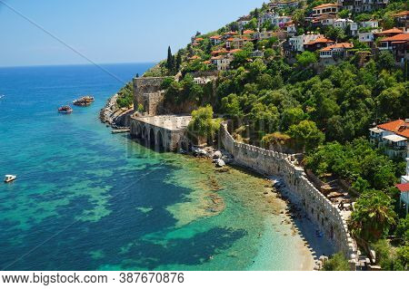 Capstone Wall On The Shoreline Of Beautiful Mediterranean Sea In Ancient Turkish Fortress, Alanya Ci