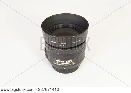 Florianopolis, Brazil. September 19, 2020: Nikon Af-s Dx Nikkor 35Mm F / 1.8G Lens. Clear Fixed Lens