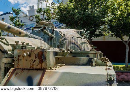 Seosan, South Korea; September 13, 202: Gun Turret On M48 Tank On Display At Seaside Park Under Blue
