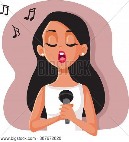 Woman Singing At The Microphone Vector Character