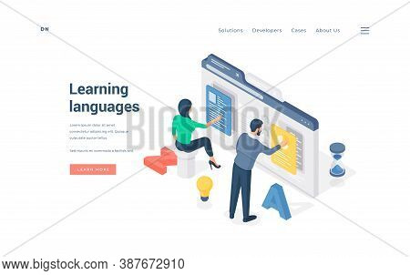 People Learning Foreign Languages Online. Isometric Man And Woman Using Online Software To Learn For