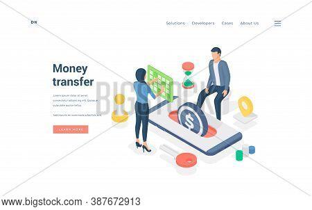 People Transferring Money Through Smartphone App. Isometric Man And Woman Performing Money Transacti