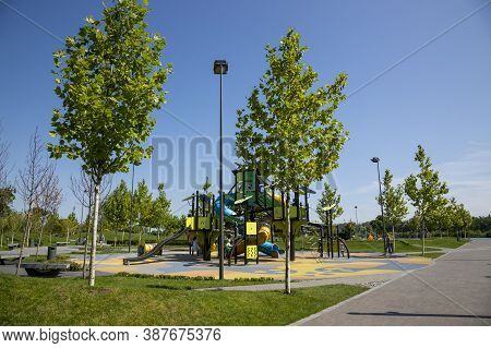 Dnepr, Ukraine - August 26, 2020: View Of The Children's Playground In The New Park On The City Emba
