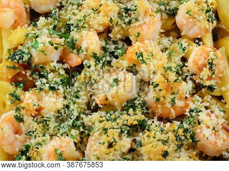 Shrimp Rigatoni Pasta Casserole In A Cream Sauce With Parsley And Panko Breadcrumbs