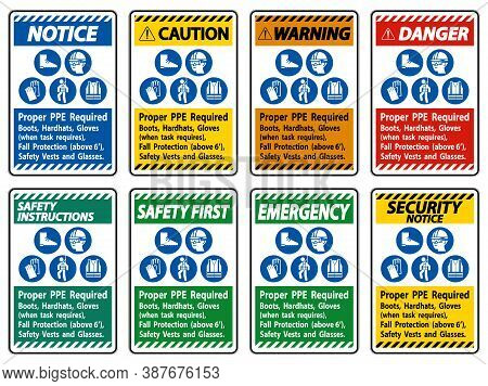 Proper Ppe Required Boots, Hardhats, Gloves When Task Requires Fall Protection With Ppe Symbols