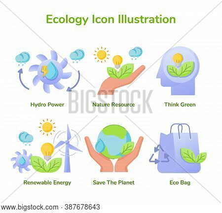 Ecology Icon Set Collection Hydro Power Nature Resource Think Green Renewable Energy Save Planet Eco