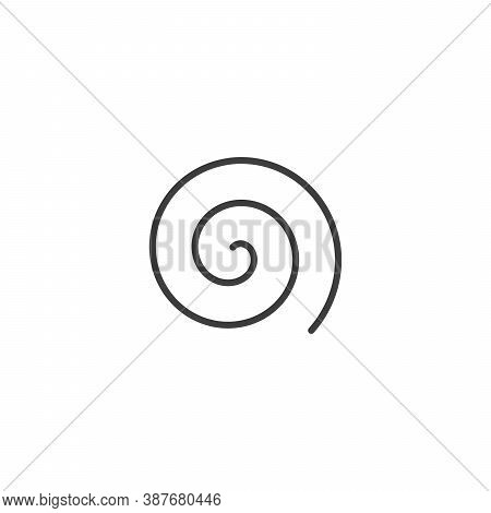 Large Linear Spiral. Archimedean Spiral Of Black Color With Ten Turnings Of One Arm Of An Arithmetic