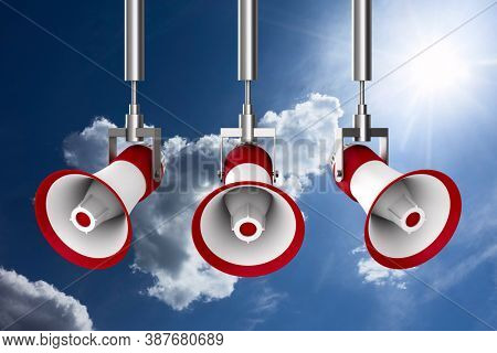 three megaphones on sky background. Isolated 3D illustration