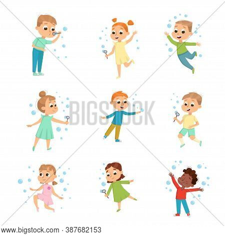 Cute Boys And Girls Blowing Soap Bubbles Set, Adorable Children Having Fun With Soap Bubbles, Kids L