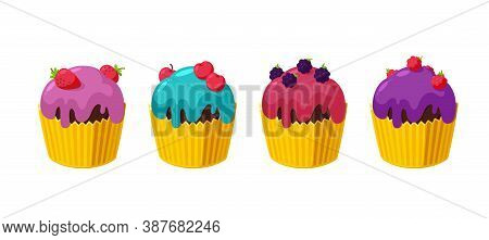 Cupcakes With Cherry, Raspberry, Blackberry And Strawberry. Set Of Muffins In Paper Cup. Tasty Desse