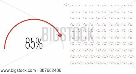 Set Of Semicircle Percentage Diagrams Meters From 0 To 100 Ready-to-use For Web Design, User Interfa
