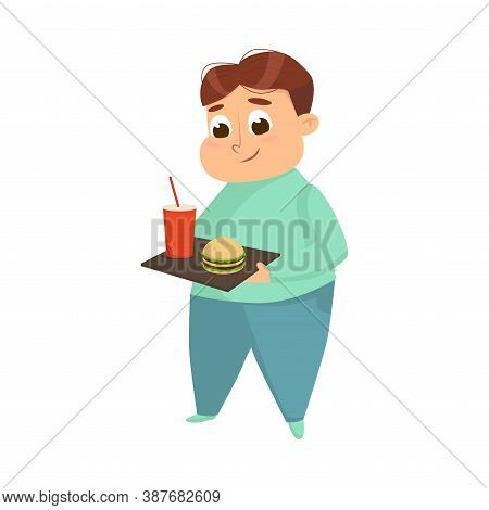 Overweight Chubby Boy Eating Fast Food, Cheerful Fat Unhealthy Kid Character Cartoon Style Vector Il