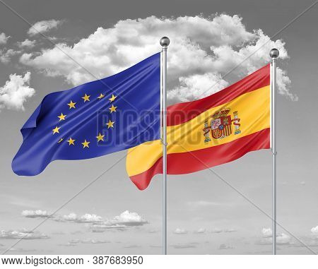 Two Realistic Flags. European Union Vs Spain. Thick Colored Silky Flags Of European Union And Spain.