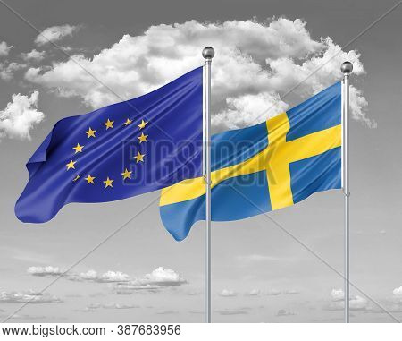 Two Realistic Flags. European Union Vs Sweden. Thick Colored Silky Flags Of European Union And Swede